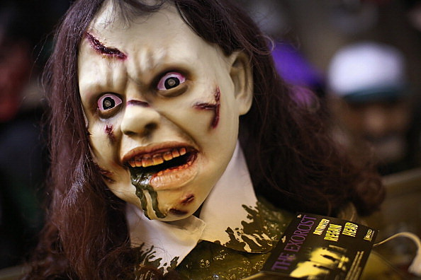 CHICAGO, IL - OCTOBER 30: A Halloween mask called The Exorcist is offered for sale at Fantasy Costumes on October 30, 2013 in Chicago, Illinois. Although Halloween spending has increased more than 50 percent since 2005, according to the National Retail Federation spending for the holiday this year is expected to be slightly lower than it was in 2012. (Photo by Scott Olson/Getty Images)