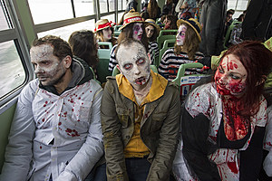 VENICE, ITALY - FEBRUARY 15: A group of people dressed up as Zombies sit on a waterbus on February 15, 2014 in Venice, Italy. The 2014 Carnival of Venice will run from February 15 to March 4 and includes a program of gala dinners, parades, dances, masked balls and music events. (Photo by Marco Secchi/Getty Images)