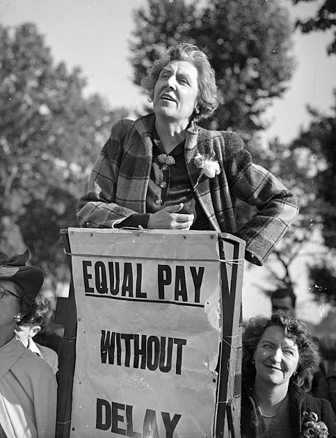 13th June 1947:  Sybil Morrison, a founder of the PPU (Peace Pledge Union) speaking at a meeting campaigning for equal pay for women.  (Photo by George Stroud/Express/Getty Images)
